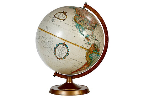 1960s World Globe   on a Stand