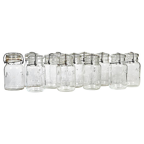 Large Kitchen Glass Canning Jars, S/12