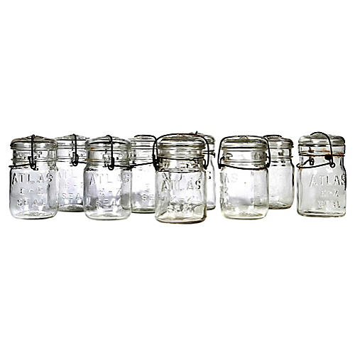 Small Kitchen Canning Jars, Set of 9