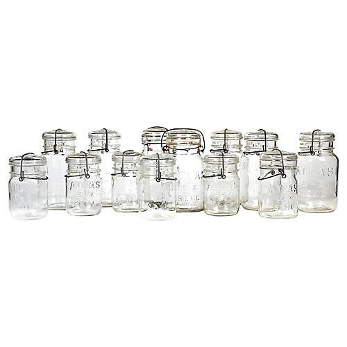 Kitchen Canning Jars, Set of 13