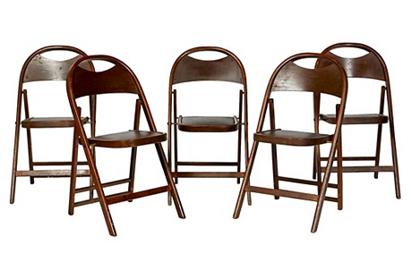1950s Wood Folding Chairs, S/5