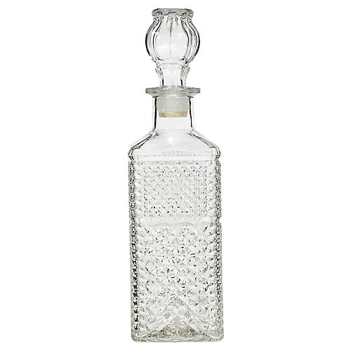 1960s Tall Square Glass Decanter