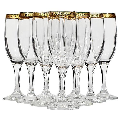 1970s Gilt-Rim Champagne Flutes, S/10