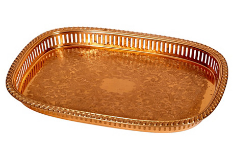 1960s Reticulated Copper Serving Tray