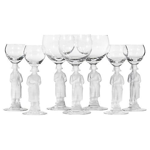 1950s Figural Stem Glass Goblets, 7 Pcs