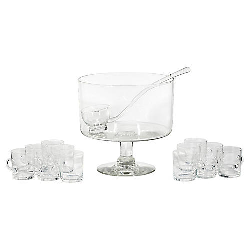 1950s Glass Punch Bowl Set, 14 Pcs