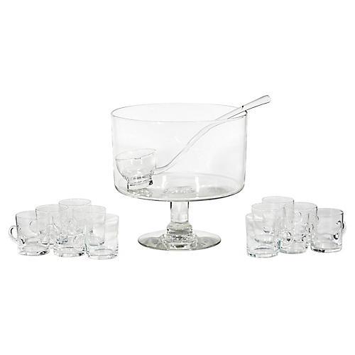 1950s Glass Punch Bowl Set, 14 Pcs