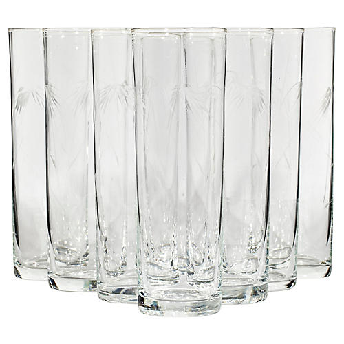 1960s Wheat Etched Tall Tumblers, S/8