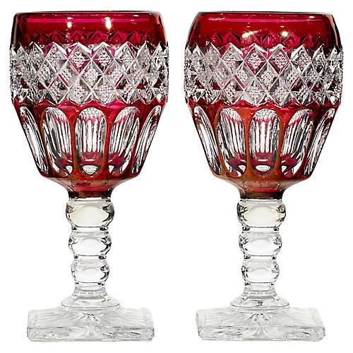 1950s Ruby Flash Glass Wine Stems, Pr
