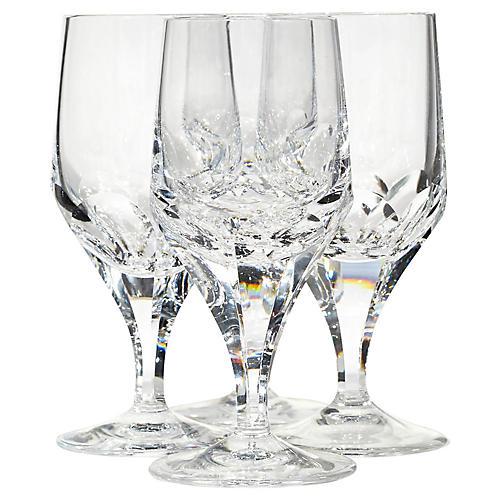 1960s Crystal Glass Wine Stems, S/4