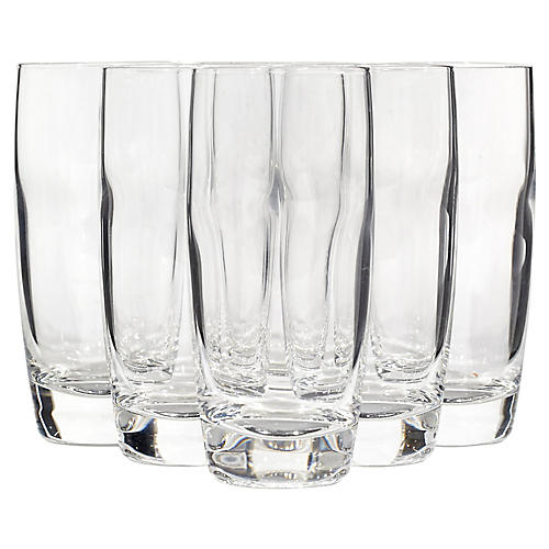 Clear Glass Cocktail Tumblers, S/6