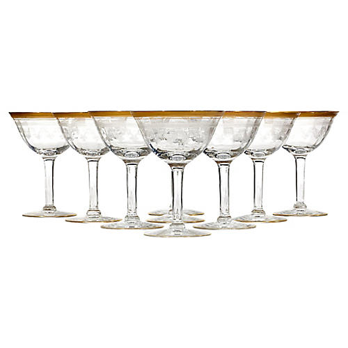 Tiffin Glass Etched Gilt Rim Coupes, S/9