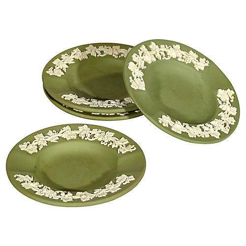 Wedgewood Sage Green Round Ashtrays, S/4