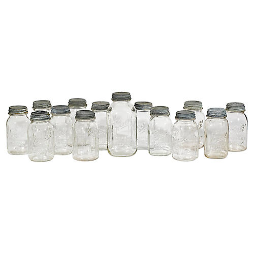 1950s Ball Mason Zinc Top Jars, S/14