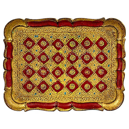 Florentine Red & Gilt Serving Tray