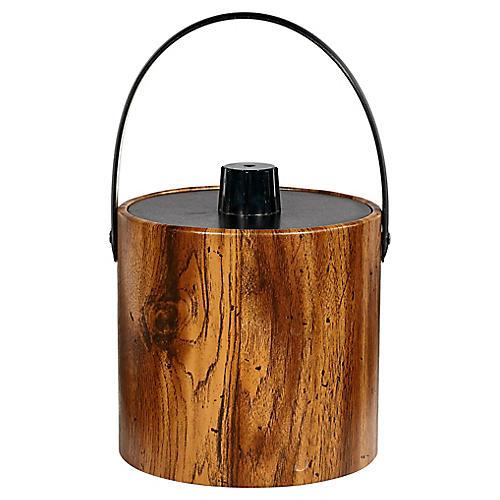 1960s Wood Grain Ice Bucket