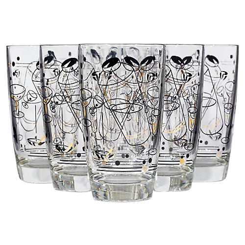 1950s Cocktail Glass Tumblers, S/7