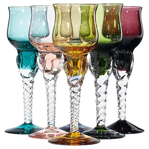 1960s Multicolor Liquor Stems, S/6