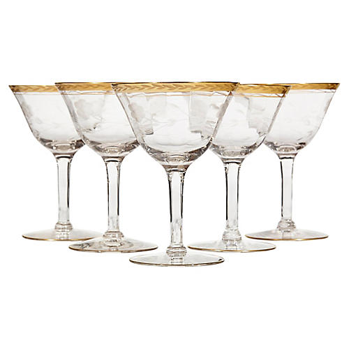 Gilt Rim & Floral Etched Wine Stems, S/5