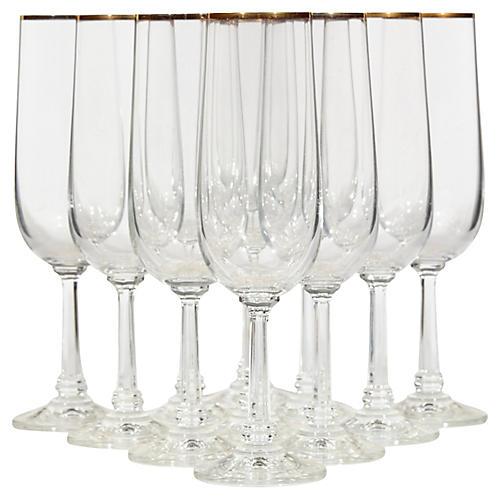 Gilt Rim Champagne Flutes, S/11