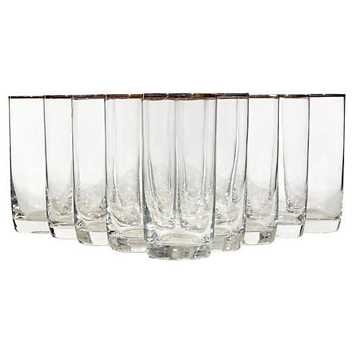 Gilt Rim Tall Glass Tumblers, S/12