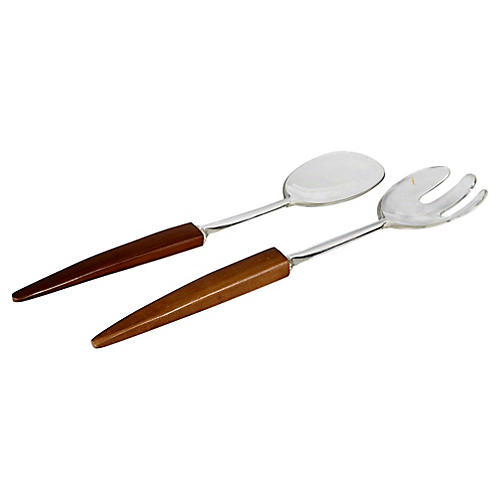 1960s Wood Handled Salad Fork & Spoon