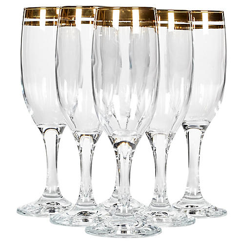 Double Gilt Banded Champagne Flutes, S/6