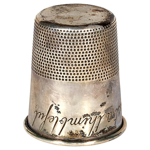 Engraved Sterling Silver Thimble