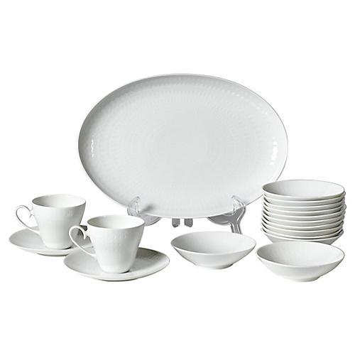 1960s Rosenthal White Dinnerware, 17 Pcs