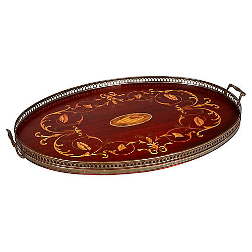Shell Inlaid Oval Serving Tray