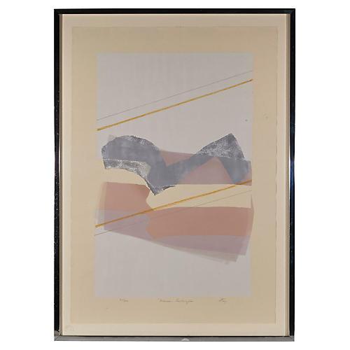 """1970s """"Mauve Landscapes"""" Lithograph"""