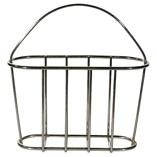 1960s Silver Metal Magazine Rack