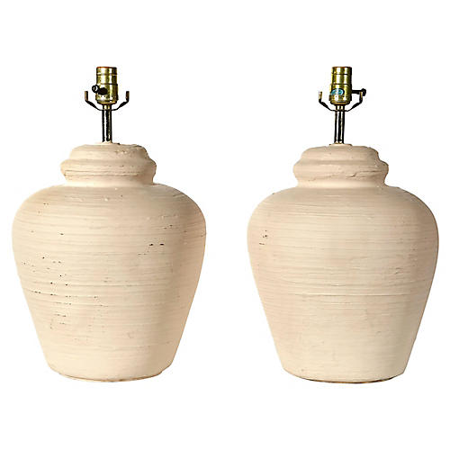 1970s White Textured Ceramic Lamps, Pr