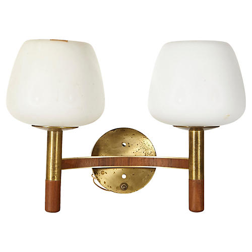 1960s Brass & Walnut Wall Sconce