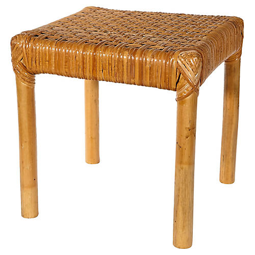 1970s Rattan & Cane Footstool