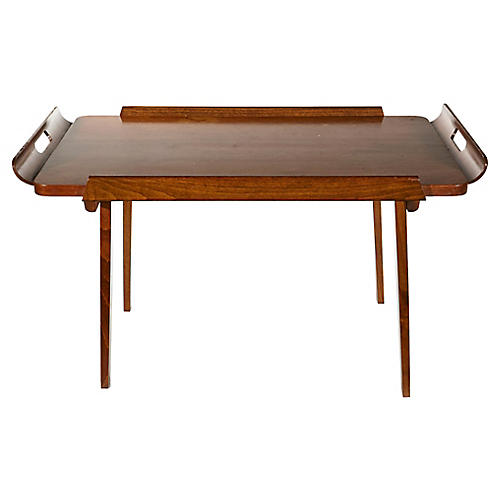 1950s Walnut Wood Tray Table