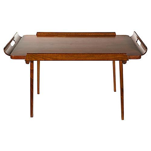 1950s Walnut Wood Tray Table