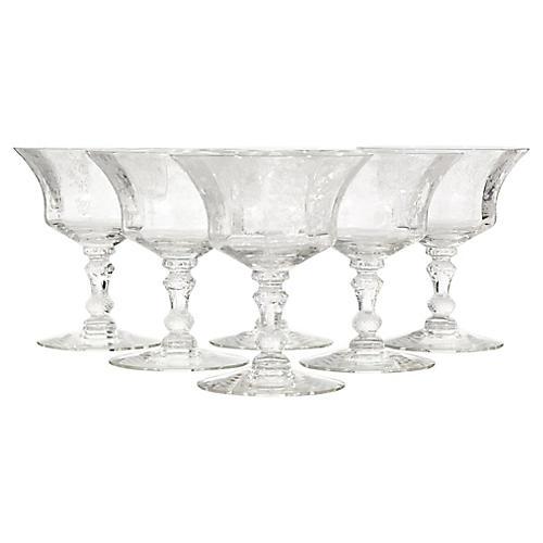 Cambridge Glass Rosepoint Stems, S/6
