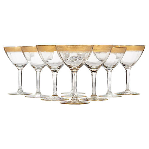 1930s Gilt Rim Tall Glass Stems, S/9