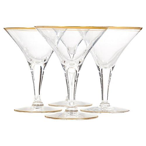 Art Deco Gilt Rim Martini Stems, S/4