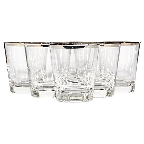 Silver-Rim Old Fashioned Tumblers, S/6