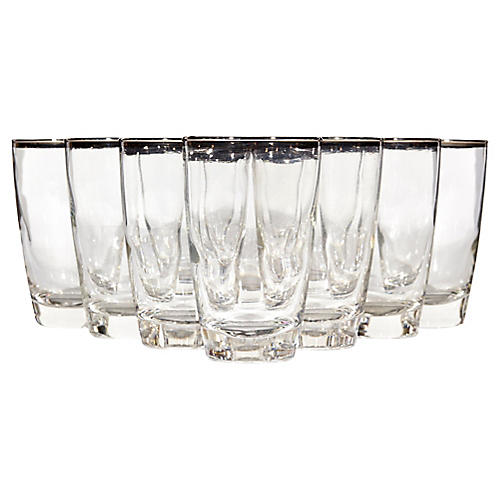 Silver-Rimmed Tumblers, S/10