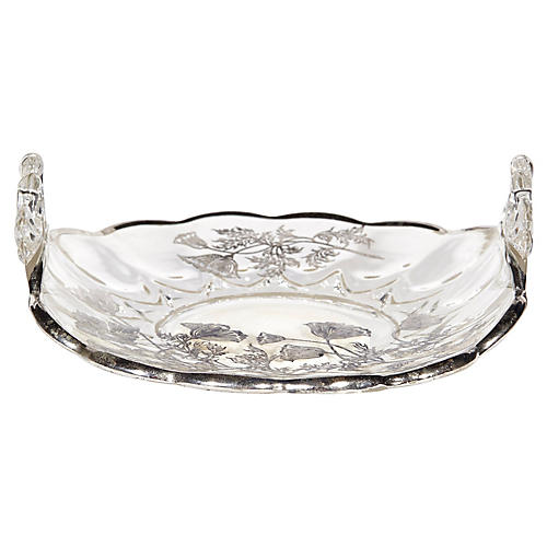 1960s Handled Silver Overlay Dish
