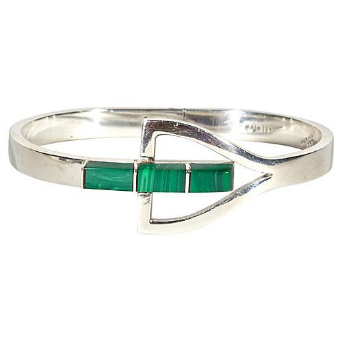 Sterling Silver & Malachite Bracelet