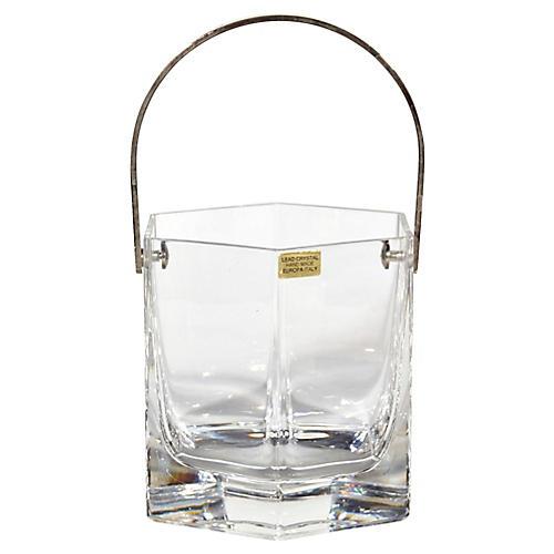 Italian Crystal Handled Ice Bucket
