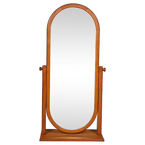 1970s Danish Teak Cheval Mirror