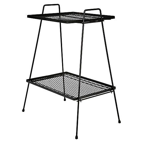 1950s Black Metal Mesh Side Table
