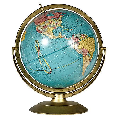 1960s Rotating Metal Stand World Globe