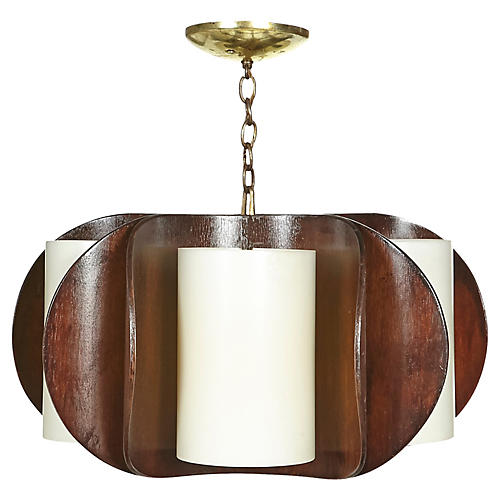 1960s Curved Walnut Chandelier