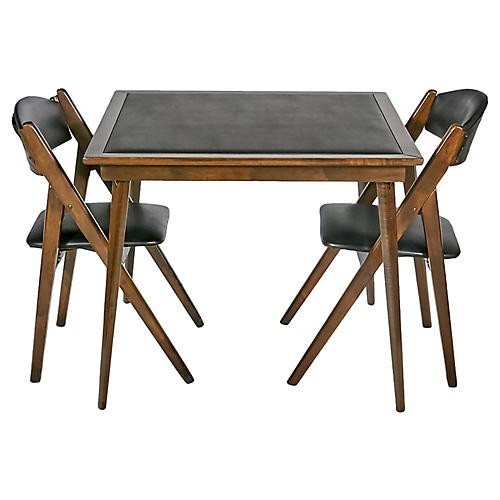 1950s Game Table & Chairs, S/3